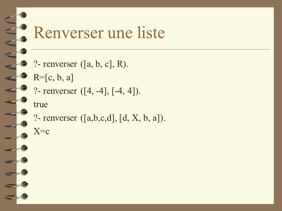 Renverser une liste - renverser ([a, b, c], R). R=[c, b, a]